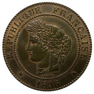 Numismatic foto  Münzen Münzen Frankreich 1793-1959 5 Centimes G.157a   Cérès 1896 A (Paris) faisceau    PCGS-MS64RB    pr.FDC