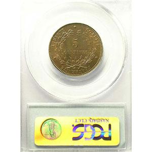 Numismatic foto  Münzen Münzen Frankreich 1793-1959 5 Centimes G.157a   Cérès 1896 A (Paris) torche    PCGS-MS64RB    pr.FDC