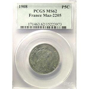 Numismatic foto  Münzen Münzen Frankreich 1793-1959 5 Centimes G.165   Dupuis 1908 Essai en aluminium   PCGS-MS62    SUP/FDC