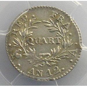 Numismatic foto  Münzen Münzen Frankreich 1793-1959 1/4 Franc G.342   Bonaparte Premier Consul An 12 A  (Paris)    PCGS-AU55    TTB+/SUP