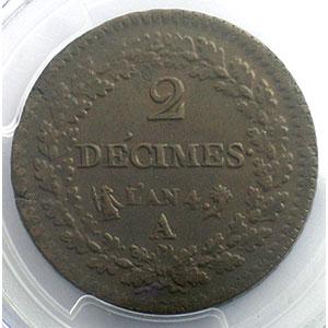 Numismatic foto  Münzen Münzen Frankreich 1793-1959 2 Décimes G.300   Directoire AN 4 A  (Paris)    PCGS-MS62BN    SUP/FDC