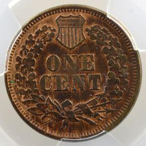 One Cent   1865  (plain 5)   Indian Eagle Cent    PCGS-AU53    TTB+