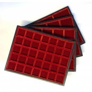 Plateau Mignon en bois et velours   12 cases - 45 mm