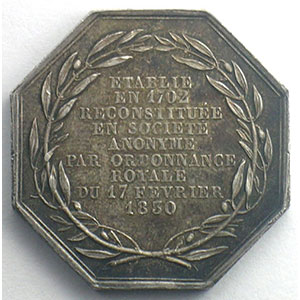 St Gobain   Manufacture royale des Glaces   jeton octogonal en argent    SUP