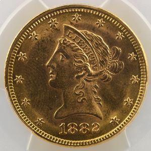 Ten D.   1882 (Philadelphie)   Liberty Head    PCGS-MS62    SUP/FDC