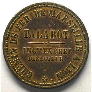 Vernet et Cie entrepreneurs   1846   jeton rond en cuivre   29mm    TTB+