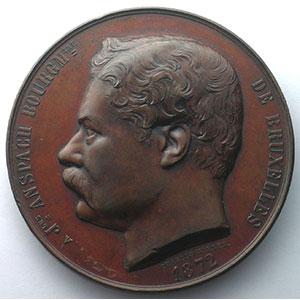 WIENER Charles   Inauguration des arches de la Senne   30 novembre 1871   Bruxelles   bronze   67mm    TTB+/SUP