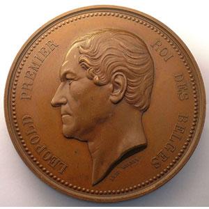 WIENER   Léopold I   25° anniversaire de l'inauguration du Roi   21 juillet 1856   cuivre   75mm    SUP
